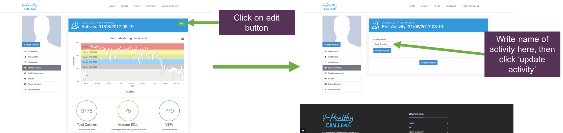 how to edit the name of your page on v-healthy screenshot